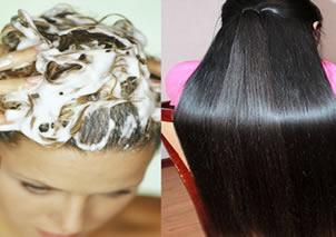 Água de arroz nos cabelos