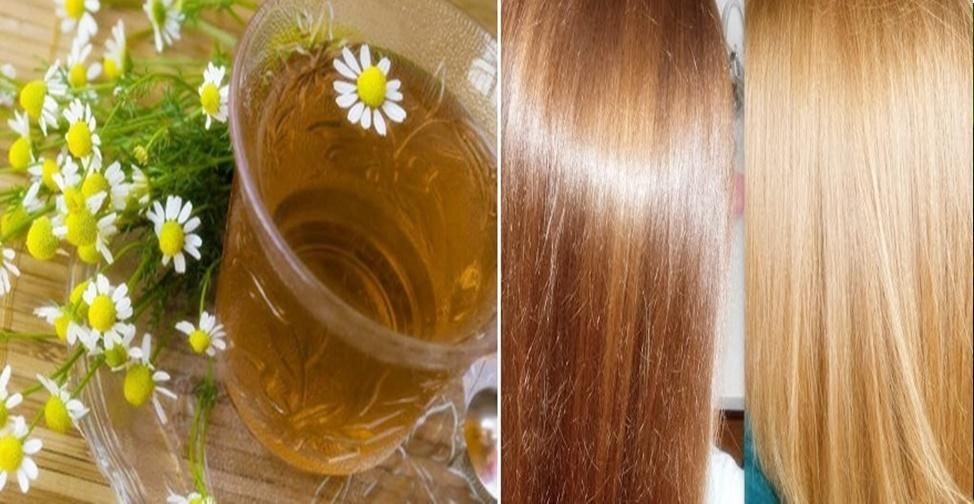 Chá de camomila no cabelo