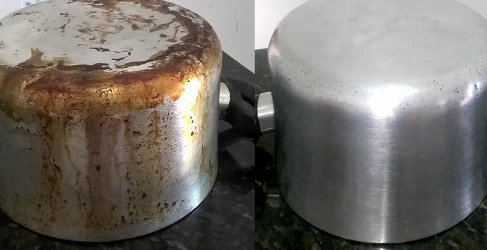 limpar panela manchada de gordura queimada
