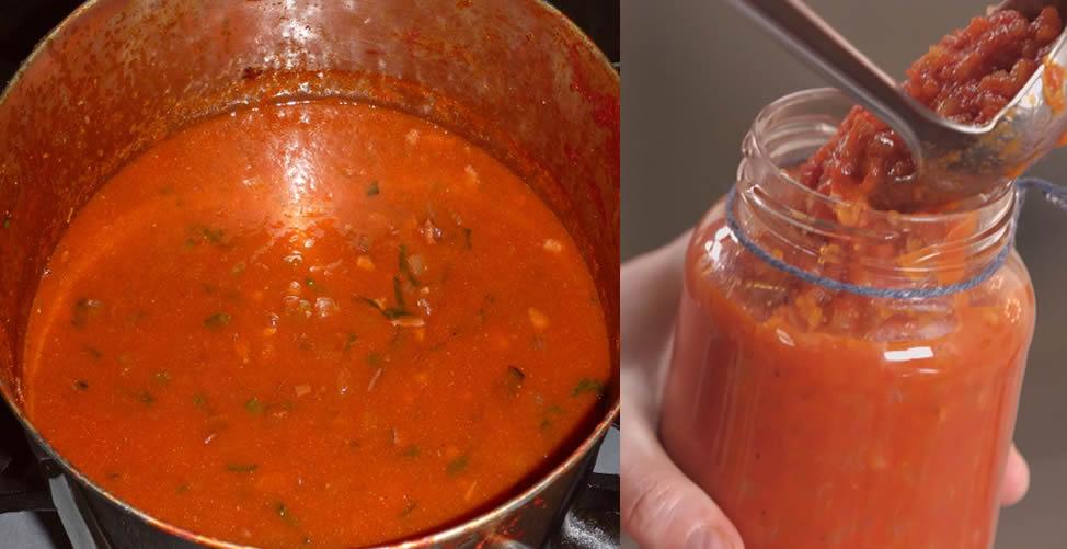 molho de tomate em casa e sem conservantes