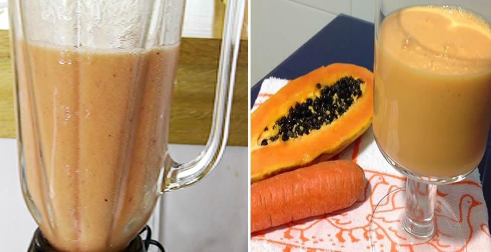 Vitamina de Fruta Para Limpar o Corpo Mamão e Cenoura