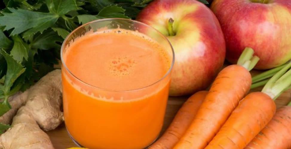 Sucos Para o Cabelo Crescer- Cenoura Maçã e Gengibre